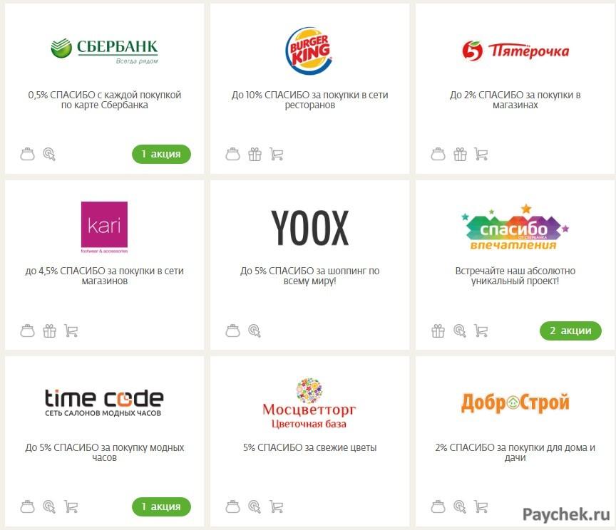 Интернет-магазины партнеры Сбербанка в программе Спасибо