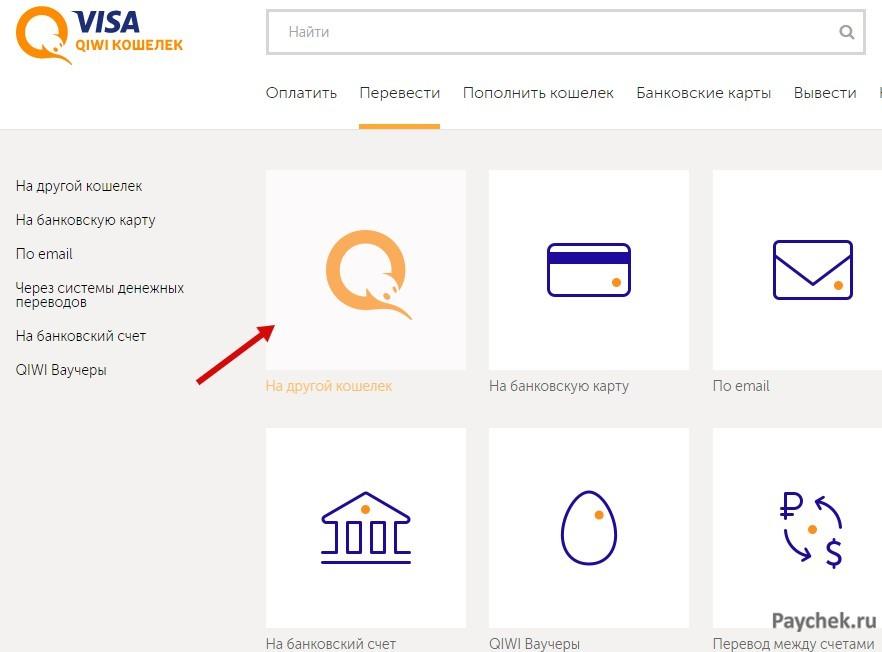 Перевод на другой кошелек в Visa QIWI Кошелек