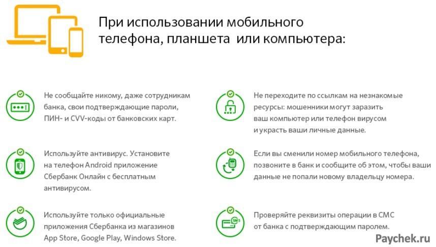 Меры безопасности при использовании сервиса Сбербанк Онлайн