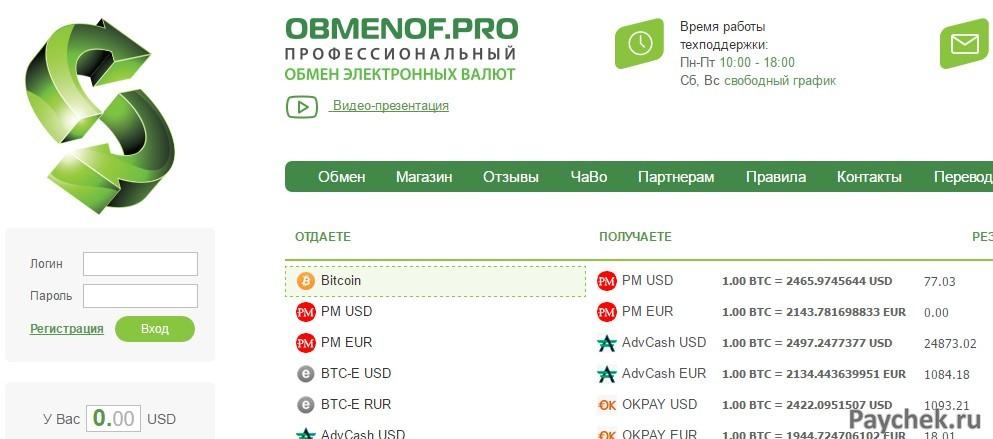 Обмен Bitcoin на деньги через обмениик