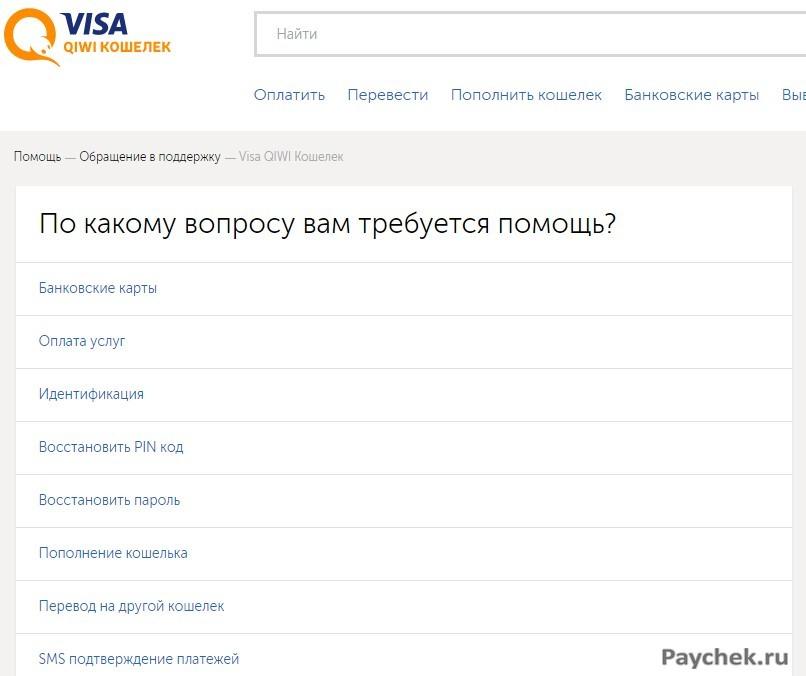 Помощь в вопросах с работой Visa QIWI Кошелек