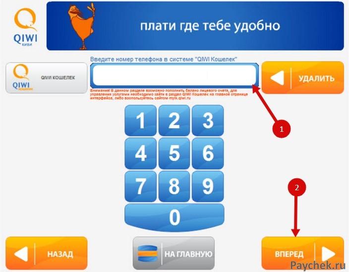 Авторизация в в Visa QIWI Wallet через терминал