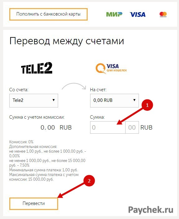 Перевод денег на QIWI Кошелек с баланса телефона
