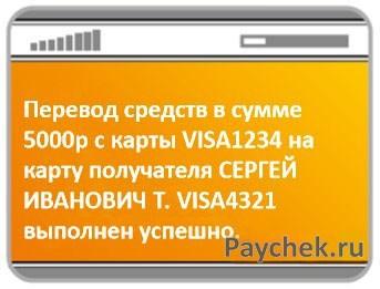 Перевод средств с банковской карты на карту получателя по СМС в Сбербанке
