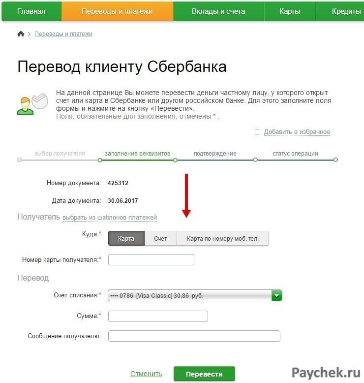 Денежный перевод клиенту Сбербанка по карте